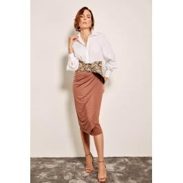 Trendyol Brown Skirt With Red Pinstripes